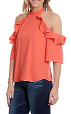 Jealous Tomato Women's Coral Cold Shoulder Ruffle Fashion Top