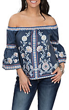 Jealous Tomato Women's Navy Floral Off the Shoulder 3/4 Sleeve Shirt
