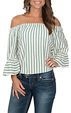 Jealous Tomato Women's White with Green Stripes Off the Shoulder Long Ruffle Sleeves Fashion Top