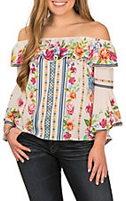 Jealous Tomato Women's Off White with Multi Floral Print Ruffle Off the Shoulder Bell Sleeve Fashion Top