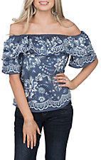Jealous Tomato Women's Printed Denim Off the Shoulder Fashion Top
