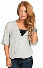 Karlie Women's Grey Wrap Front Drape Top