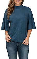 Jealous Tomato Women's Blue Faux Suede Top