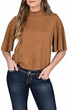 Jealous Tomato Women's Camel Faux Suede Top