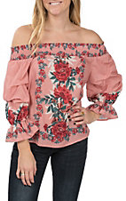 Jealous Tomato Women's Mauve Off The Shoulder Fashion Top