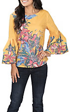 Jealous Tomato Women's Mustard Floral Bell Sleeve Fashion Top