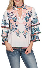 Jealous Tomato Women's Off White Floral Choker Top