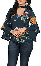 Jealous Tomato Women's Navy Floral Choker Top