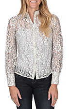 Jealous Tomato Women's Off White Lace Button Down Top