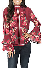 Jealous Tomato Women's Berry Floral Ruffle Sleeve Fashion Top