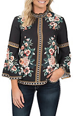 Jealous Tomato Women's Black Floral Print Bell Sleeves Top