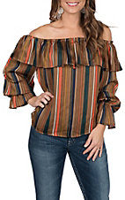 Jealous Tomato Women's Brown Striped Fashion Top