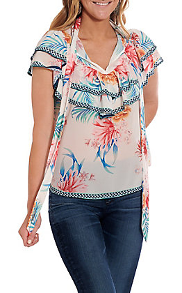 Jealous Tomato Women's Ivory Floral Ruffle Short Sleeve Fashion Top