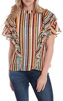 Jealous Tomato Women's Multi Color Striped Ruffle Fashion Top