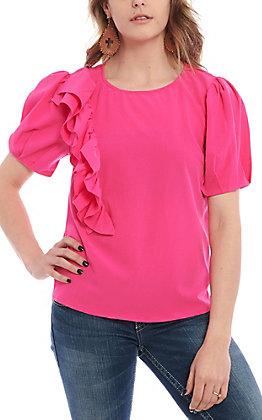 Jealous Tomato Women's Pink Ruffle Fashion Top