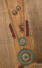Red & Turquoise with Gold Chain Necklace & Earrings Set JT865