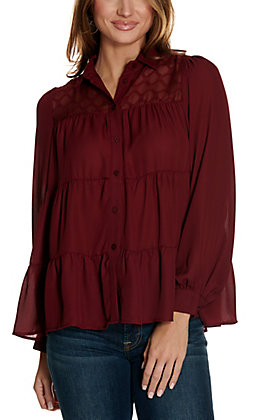 Jealous Tomato Women's Maroon Tiered Button Down Long Sleeve Fashion Top