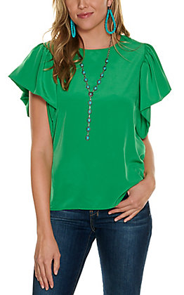 Jealous Tomato Women's Green with Short Flutter Sleeves Fashion Top