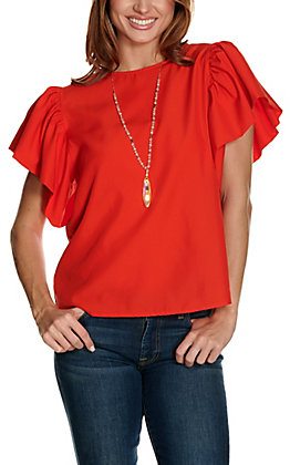 Jealous Tomato Women's Red with Short Flutter Sleeves Fashion Top
