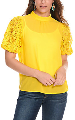 Jealous Tomato Women's Yellow with Lace Short Sleeves Fashion Top