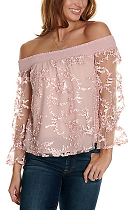 Jealous Tomato Women's Pink Mesh with Ribbon Off the Shoulder 3/4 Sleeve Fashion Top