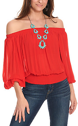 Jealous Tomato Women's Red Pleated Fashion Top