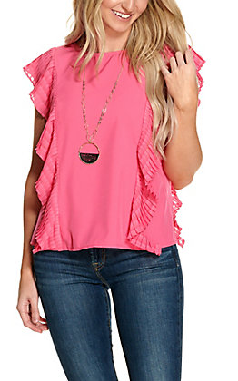 Jealous Tomato Women's Hot Pink with Pleated Cap Sleeves Fashion Top