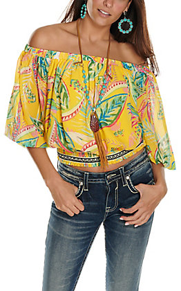 Jealous Tomato Women's Yellow Palm Print Off the Shoulder 3/4 Sleeve Fashion Top