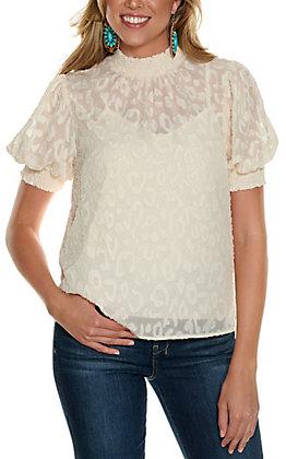 Jealous Tomato Women's Cream Leopard Print High Neck 3/4 Sleeve Fashion Top