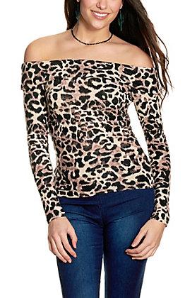 Jealous Tomato Women's Leopard Print Off Shoulder Long Sleeve Top