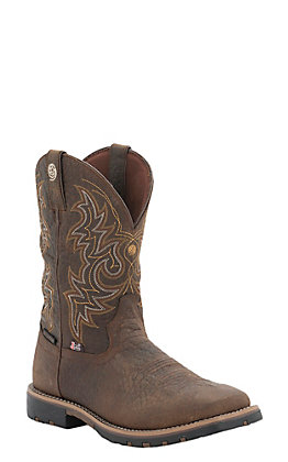 Justin Men's George Strait Weathered Bark Waterproof Square Toe Boots