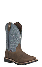 Justin Men's George Strait Brown with Blue Upper Square Toe Western Boots