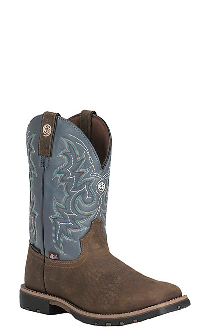 f0eb824aa1f Justin Men's George Strait Brown with Blue Upper Square Toe Western Boots