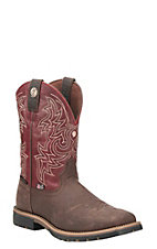 Justin George Strait Men's Brown with Red Upper Western Square Toe Boots