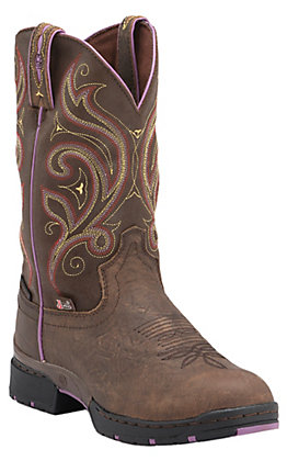 Justin Women's Oily Barnwood Brown George Strait Waterproof with Purple Accents Boots