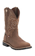 Justin George Strait Women's Embossed Golden Oak with Tan Accents Waterproof Square Toe Boots