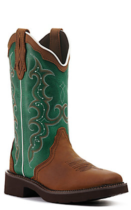 Justin Women's Gypsy Collection Raya Tan and Turquoise Wide Square Toe Western Boots