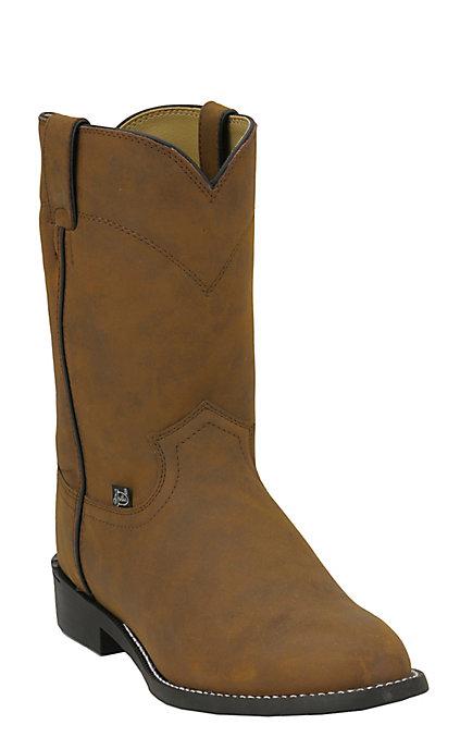 282138e5d5e Justin Basics Men's Crazy Cow Brown Roper Boots