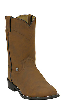 Justin Men's Basics Crazy Cow Brown Roper Boot