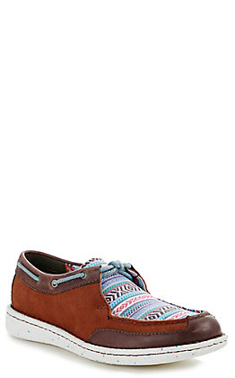 Justin Boatie Women's Chocolate & Aztec Moccasin Casual Shoes