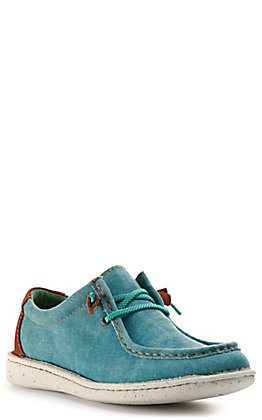 Justin Women's Easy Rider Hazer Turquoise Denim Canvas Moc Toe Casual Shoes