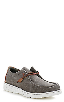 Justin Men's Easy Rider Hazer Ash Grey Canvas Moc Toe Casual Shoes