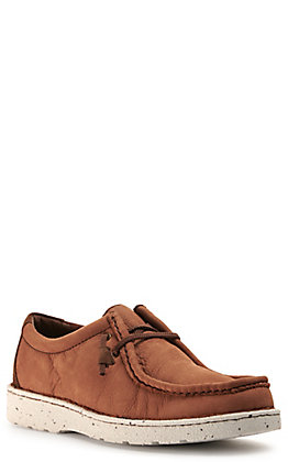 Justin Men's Easy Rider Hazer Camel Brown Leather Moc Toe Casual Shoes