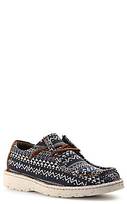 Justin Men's Easy Rider Hazer Navy with White Aztec Cross Print Canvas Moc Toe Casual Shoes