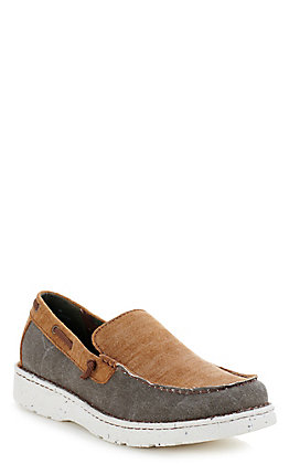 Justin Men's Easy Rider Walker Ash Grey Canvas and Tan Suede Moc Toe Slip On Casual Shoes