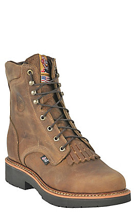 "Justin Blueprint Men's Rugged Tan Round Steel Toe 8"" Lace Up Work Boots"