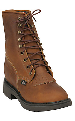 Justin Men's Conductor Aged Bark Round Toe Lace Up Work Boot