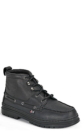 Justin Men's Black Chukka Style Moc Toe Lace Up Casual Boot