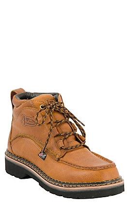 Justin Dugan Men's Tan Chukka Style Moc Toe Lace Up Casual Boots