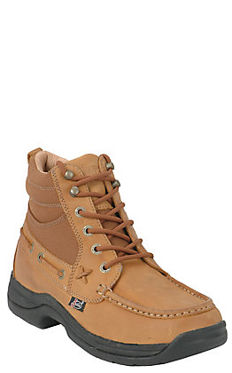 Justin Soronto Men's Tan Chukka Style Moc Toe Lace Up Casual Boots